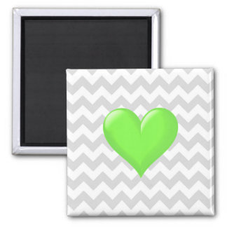 Lt Gray White Chevron Lime Green Shaded Heart 2 Inch Square Magnet