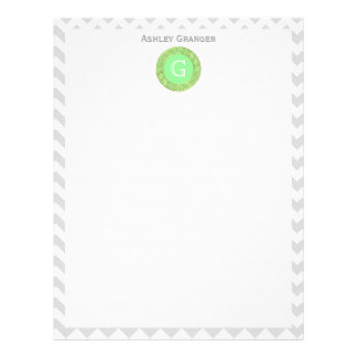Lt Gray White Chevron Mint Greek Key Monogram Letterhead