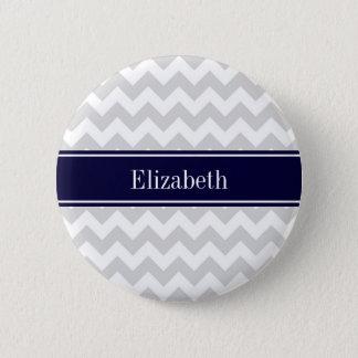Lt Gray White Chevron Navy Blue Name Monogram Pinback Button