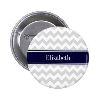 Lt Gray White Chevron Navy Blue Name Monogram Pinback Button