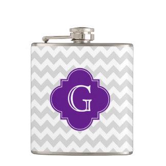 Lt Gray White Chevron Purple Quatrefoil Monogram Flask