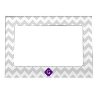 Lt Gray White Chevron Purple Quatrefoil Monogram Picture Frame Magnets