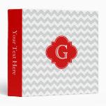 Lt Gray White Chevron Red Quatrefoil Monogram Binder