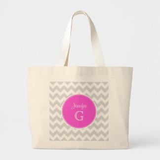 Lt Gray White Chevron Rnd Hot Pink Name Monogram Large Tote Bag