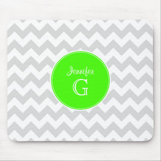 Lt Gray White Chevron Rnd Lime Green Name Monogram Mouse Pad