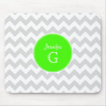 Lt Gray White Chevron Rnd Lime Green Name Monogram Mousepad