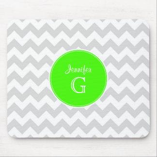 Lt Gray White Chevron Rnd Lime Green Name Monogram Mouse Pad