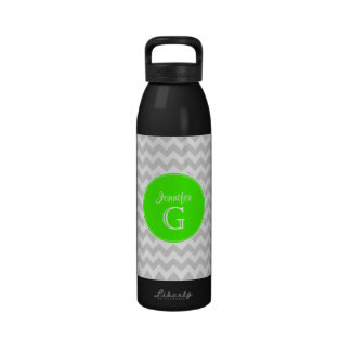 Lt Gray White Chevron Rnd Lime Green Name Monogram Drinking Bottles