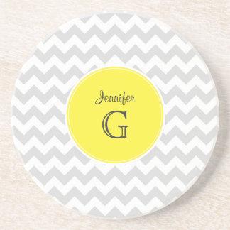 Lt Gray White Chevron Round Yellow Name Monogram B Coasters