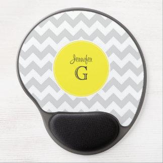 Lt Gray White Chevron Round Yellow Name Monogram B Gel Mouse Pad