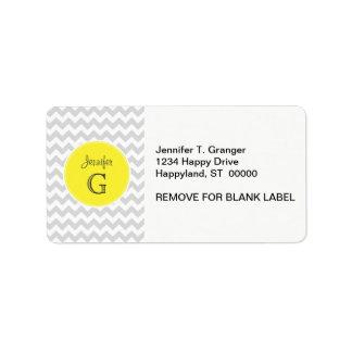 Lt Gray White Chevron Round Yellow Name Monogram B Label