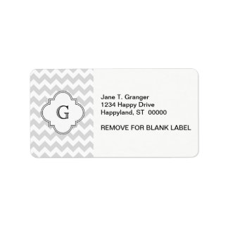 Lt Gray White Chevron White Quatrefoil Monogram Label