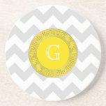 Lt Gray White Chevron Yellow Greek Key Monogram Coaster