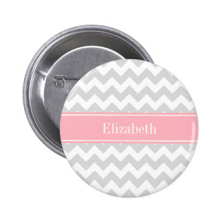 Lt Gray White Chevron Zigzag Pink Name Monogram Button