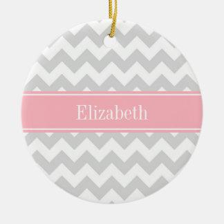 Lt Gray White Chevron Zigzag Pink Name Monogram Ceramic Ornament