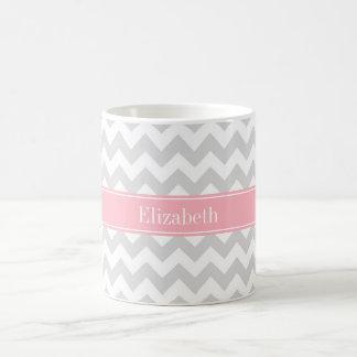 Lt Gray White Chevron Zigzag Pink Name Monogram Coffee Mug