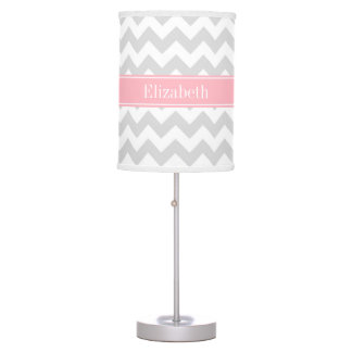 Lt Gray White Chevron Zigzag Pink Name Monogram Desk Lamp