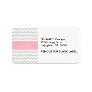 Lt Gray White Chevron Zigzag Pink Name Monogram Label