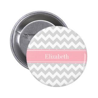 Lt Gray White Chevron Zigzag Pink Name Monogram Pinback Button