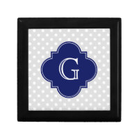 Lt Gray White Polka Dot Navy Quatrefoil Monogram Keepsake Box