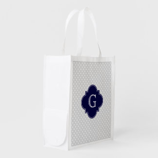 Lt Gray White Polka Dot Navy Quatrefoil Monogram Reusable Grocery Bag