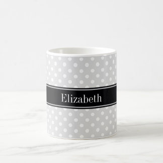Lt Gray White Polka Dots Black Name Monogram Coffee Mug