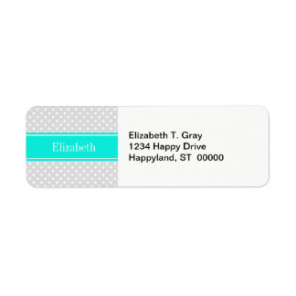 Lt Gray White Polka Dots Brt Aqua Ribbon Monogram Label