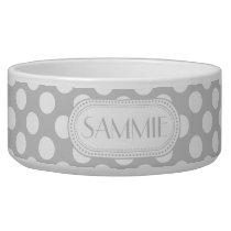 Lt Gray | White Polka Dots Pattern Monogram Bowl