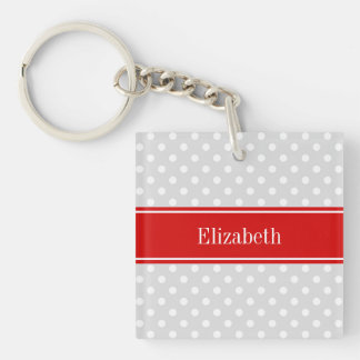 Lt Gray White Polka Dots Red Name Monogram Single-Sided Square Acrylic Keychain