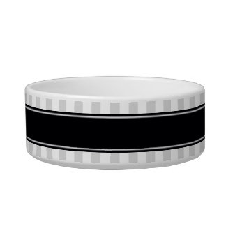 Lt Gray White Stripe Black Name Monogram Bowl