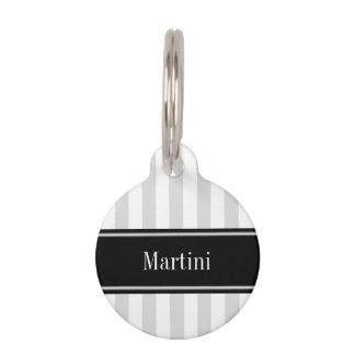 Lt Gray White Stripe Black Name Monogram Pet Tag