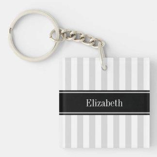 Lt Gray White Stripe Black Name Monogram Single-Sided Square Acrylic Keychain