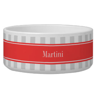 Lt Gray White Stripe Coral Red Name Monogram Bowl