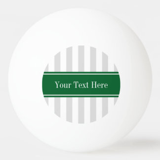 Lt Gray White Stripe Forest Green Name Monogram Ping-Pong Ball