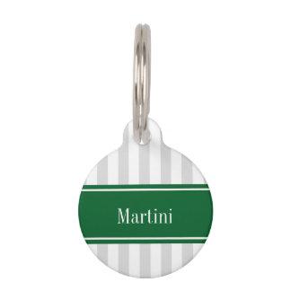 Lt Gray White Stripe Forest Green Name Monogram Pet ID Tag