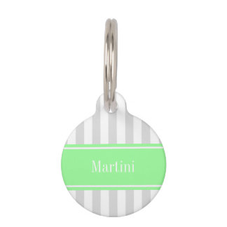 Lt Gray White Stripe Mint Green Name Monogram Pet Name Tag