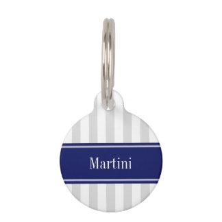 Lt Gray White Stripe Navy Blue Name Monogram Pet ID Tag