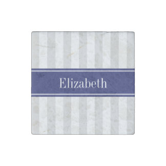 Lt Gray White Stripe Navy Blue Name Monogram Stone Magnet