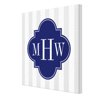 Lt Gray White Stripe Navy Quatrefoil 3 Monogram Canvas Print