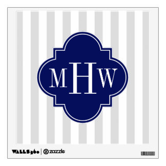 Lt Gray White Stripe Navy Quatrefoil 3 Monogram Wall Decal