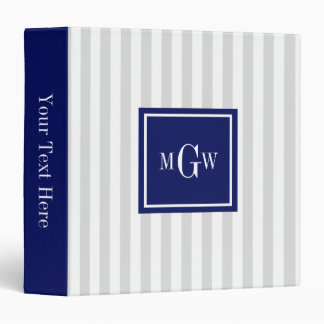 Lt Gray White Stripe Navy Square 3 Monogram Binder