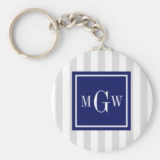 Lt Gray White Stripe Navy Square 3 Monogram Key Chains