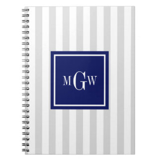 Lt Gray White Stripe Navy Square 3 Monogram Spiral Notebook