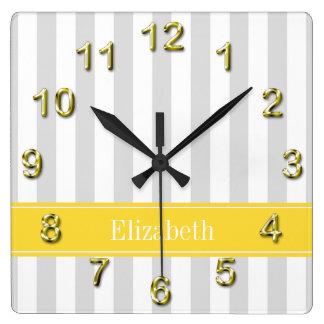 Lt Gray White Stripe Pineapple Name Monogram Wall Clock
