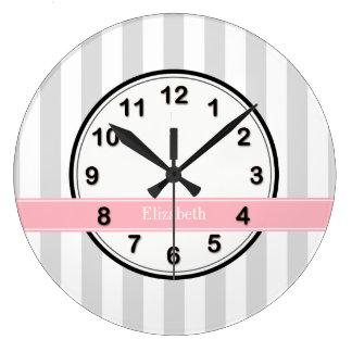 Lt Gray White Stripe Pink Name Monogram Large Clock