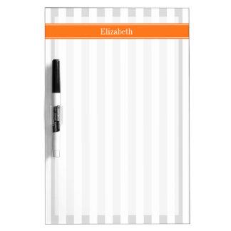 Lt Gray White Stripe Pumpkin Orange Name Monogram Dry Erase Board