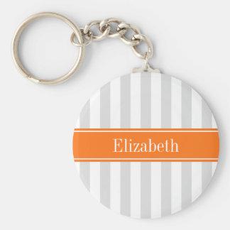 Lt Gray White Stripe Pumpkin Orange Name Monogram Basic Round Button Keychain