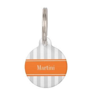 Lt Gray White Stripe Pumpkin Orange Name Monogram Pet ID Tag