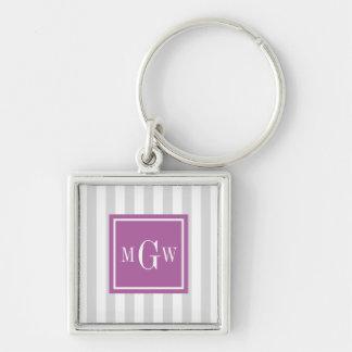 Lt Gray White Stripe Rad Orchid Square 3 Monogram Silver-Colored Square Keychain
