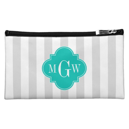 Lt Gray White Stripe Teal Quatrefoil 3 Monogram Cosmetic Bag